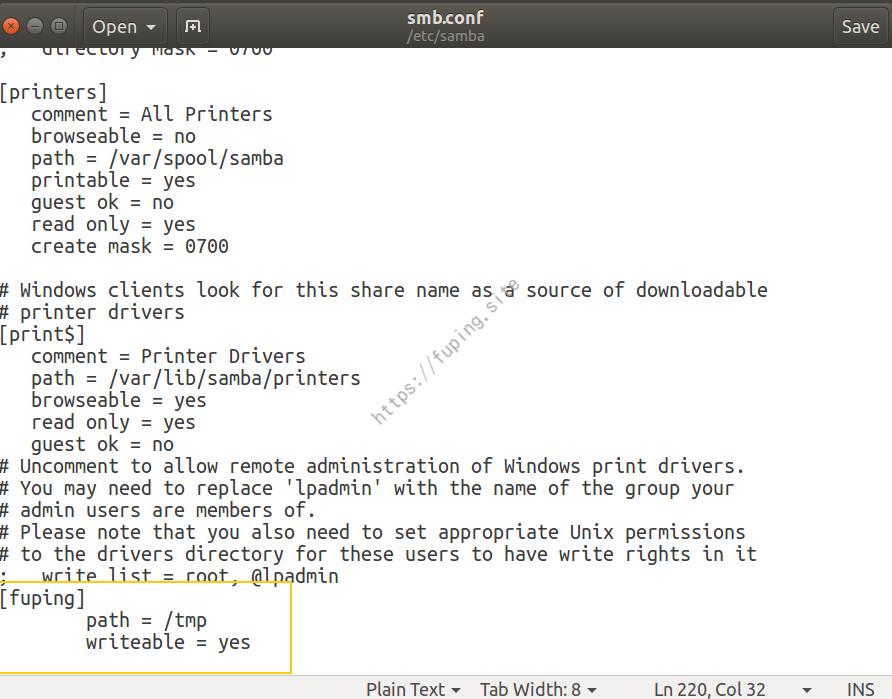 更新Samba配置文件